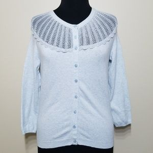 Anthro Sparrow Cardigan Sweater Lace 3/4 Sleeve S